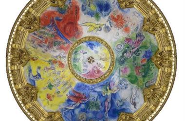 Detalhes do teto de Chagall na Ópera Garnier