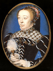 Catarina de Médici,1553/1555, de François Clouet, museu Vitoria e Alberto (Victoria and Albert Museum), Londres, Inglaterra.