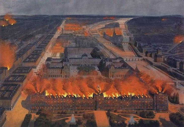Palácio das Tulherias pegando fogo